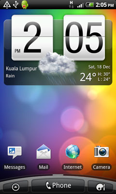 home screen of HTC Desire Z