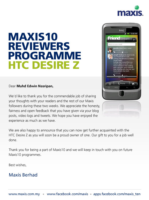 Maxis10: The HTC Desire Z is Finally Mine and How to Apply?